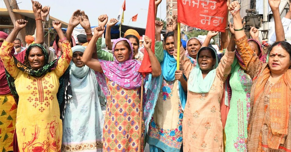 Women activists from Mazdoor Sabha shout slogans on the occasion of International Women's Day as they demonstrate against the central government's recent agricultural reforms, in Amritsar on March 8, 2021. (Photo: Narinder Nanu/AFP via Getty Images)